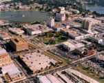 An aerial view of downtown Lakeland, Florida