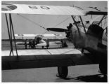 Stearman PT-17 training aircraft on the flight line at the Lodwick School of Aeronautics