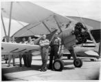 Staff and a Stearman PT-17 at the Lodwick School of Aeronautics